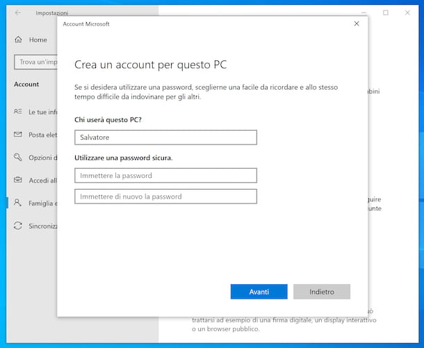 Creazione account locale Windows 10