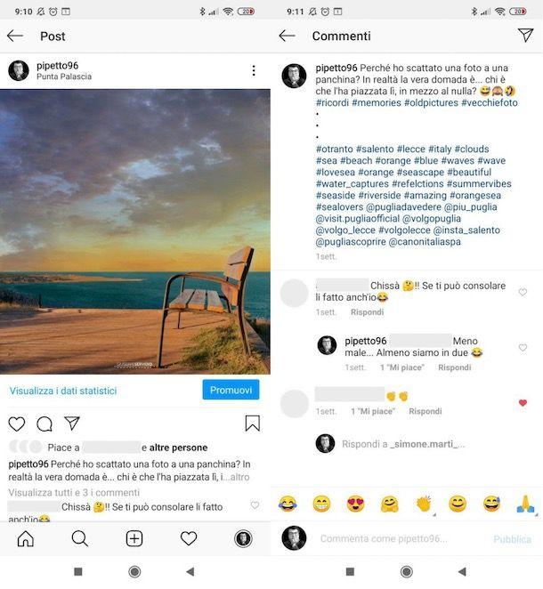 Vedere i commenti ricevuti ai post Instagram