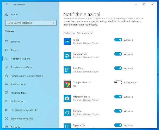 Notifiche Chrome Windows 10