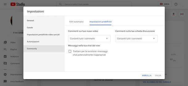 Come attivare i commenti su YouTube da computer