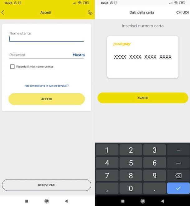 Accedere all'app PostePay con credenziali