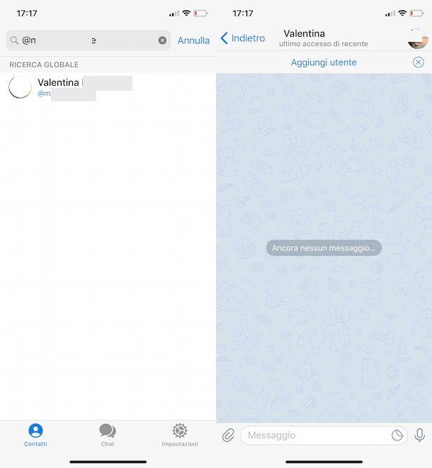 Aggiungere un contatto Telegram senza numero su iPhone
