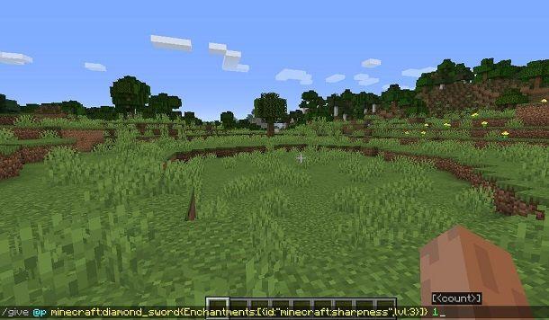 Incantare oggetti con comandi su Minecraft