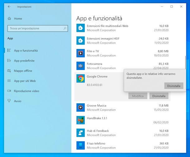 Disinstallazione di Chrome da Windows 10