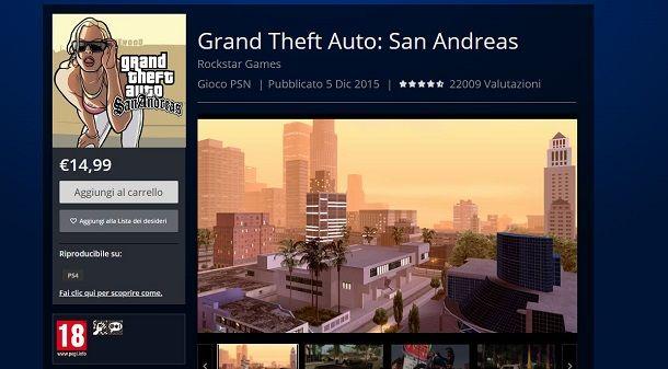 GTA San Andreas su PlayStation Store