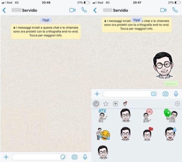 Inviare sticker WhatsApp iPhone