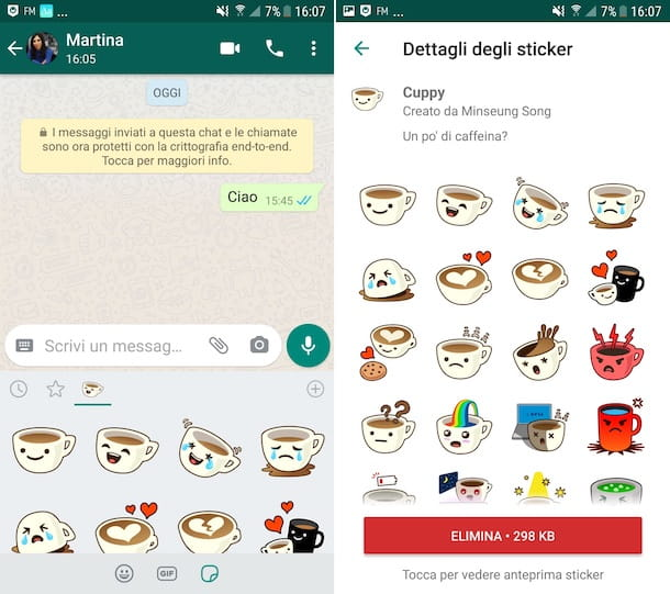 Eliminazione sticker WhatsApp Android