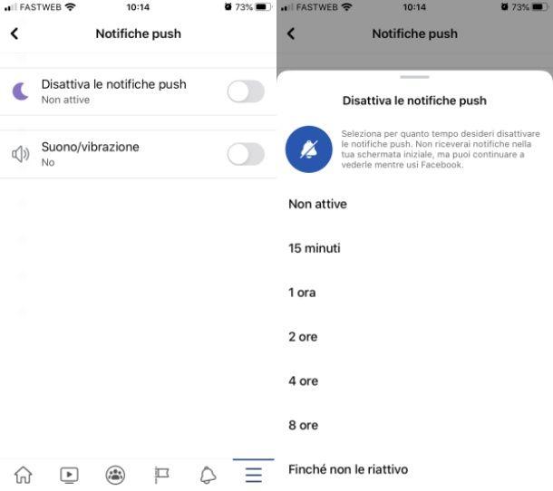 Disattivare notifiche FB iOS