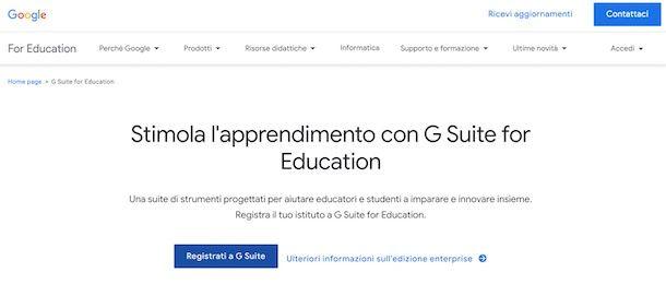 Come creare un account Google Suite for Education