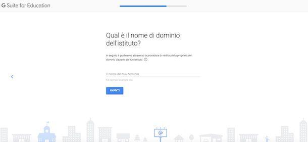 Schermata per inserire indirizzo Web della scuola