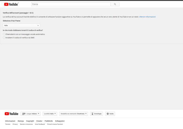 Verifica il tuo account YouTube