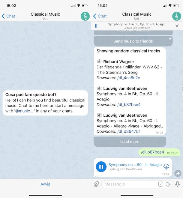 Bot per ascoltare musica su Telegram