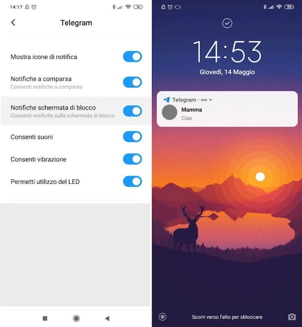 Notifiche Telegram nella losco-screen Android