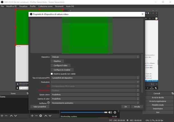 L'utilizzo della webcam su OBS