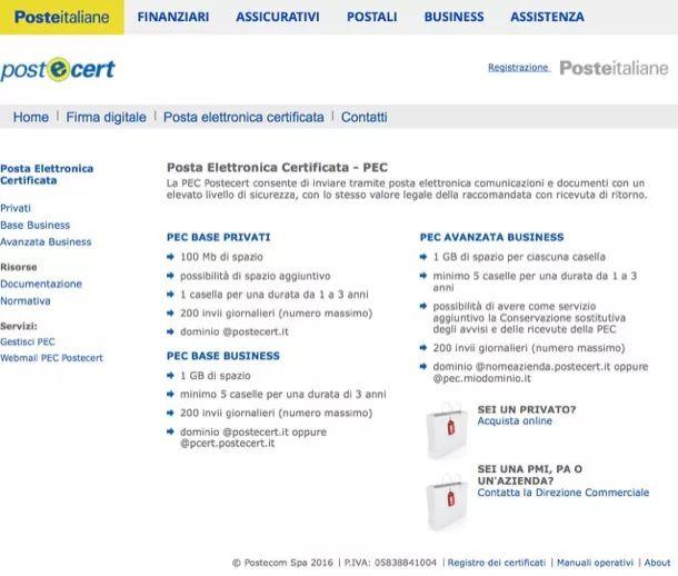 Come richiedere PEC Poste italiane