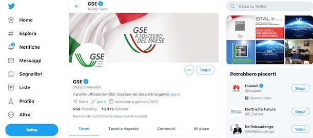 Contattare GSE su Twitter