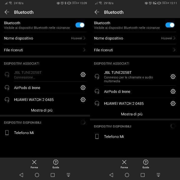 Stato batteria cuffie Android