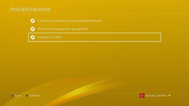 Inizializza la PS4