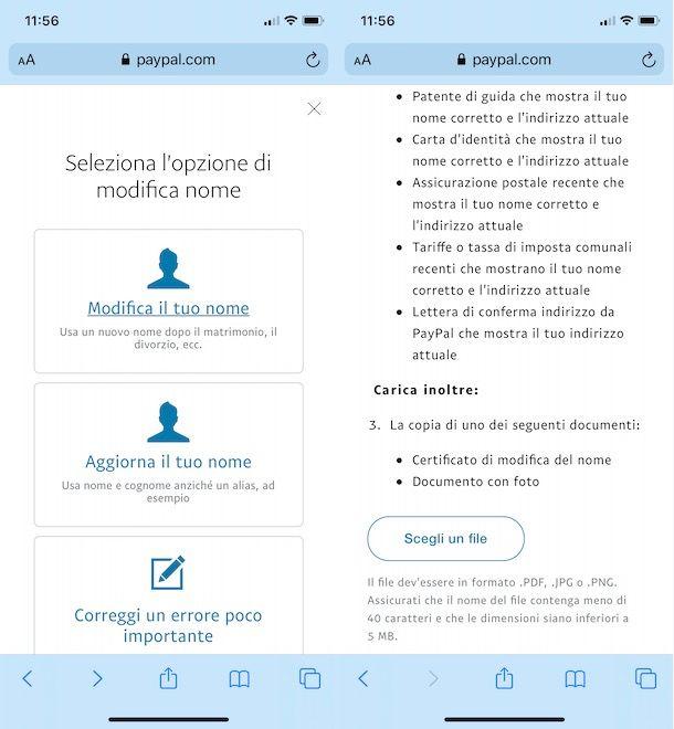 Cambiare nome su PayPal da smartphone e tablet