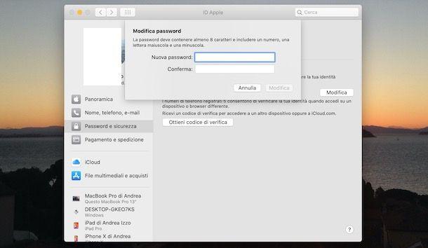 Come cambiare password ID Apple su Mac