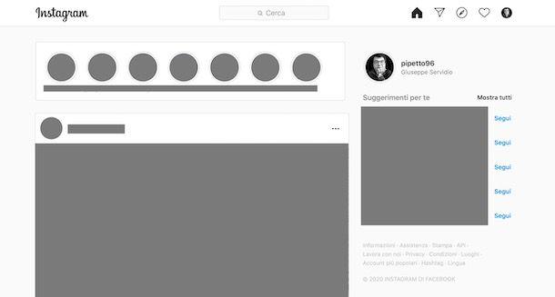 Disattivare storie Instagram da PC