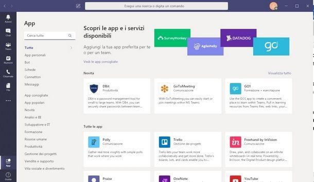 Integrare app e servizi in Microsoft Teams