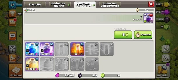 Prepara gli incantesimi Clash of Clans