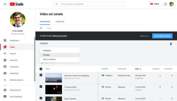 Rendere privato canale YouTube da computer