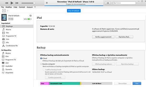 Aggiornare iPad 2 con iTunes