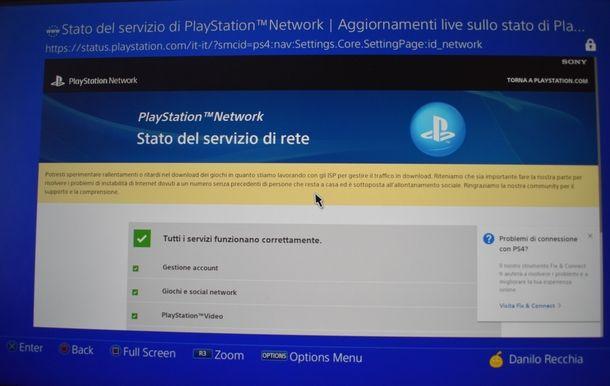 Controllo dello status del servizio PSN