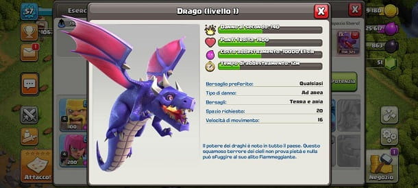 Drago statistiche Clash of Clans