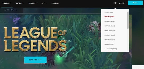 Impostare sito Web League of Legends in italiano
