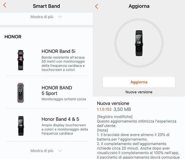 Aggiornamento Honor Band iOS