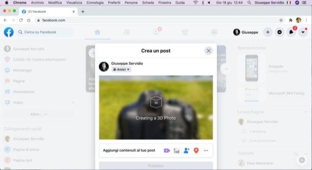 Foto 3D Facebook su computer