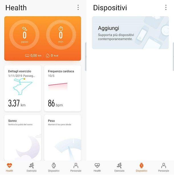 agina principale Huawei Health Android