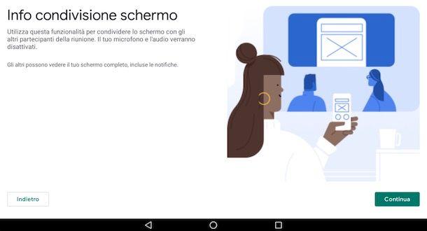 Meet condivisione schermo