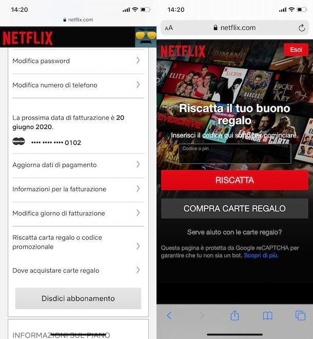 Riscattare carta regalo Netflix da smartphone