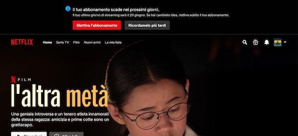 Riattivare abbonamento Netflix in scadenza