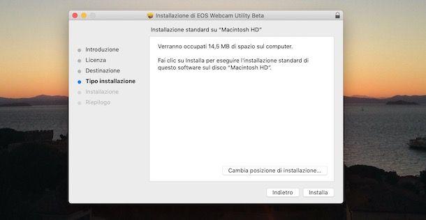 Installazione Canon EOS Webcam Utility