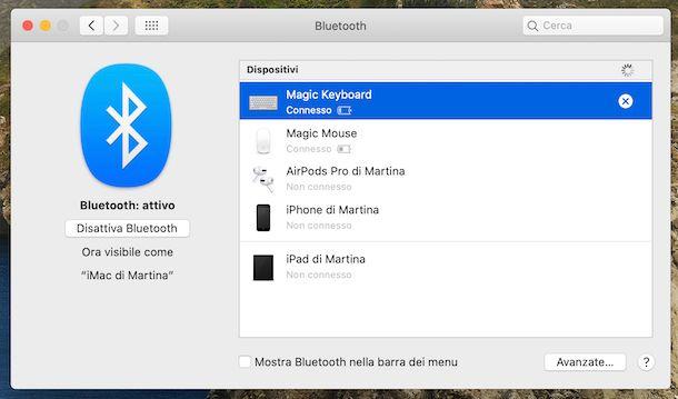 Aggiunta dispositivi Bluetooth macOS