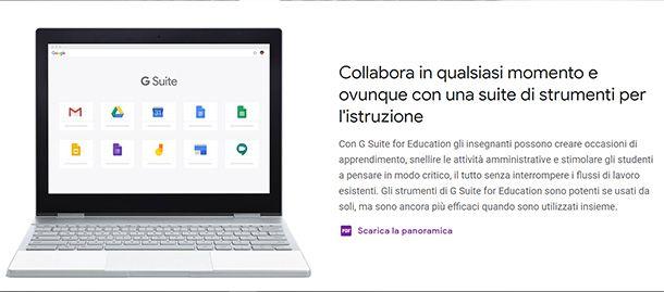 Le funzioni della piattaforma G Suite for Education