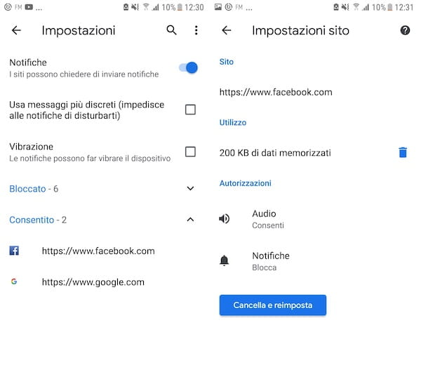 Gestione notifiche Chrome Android