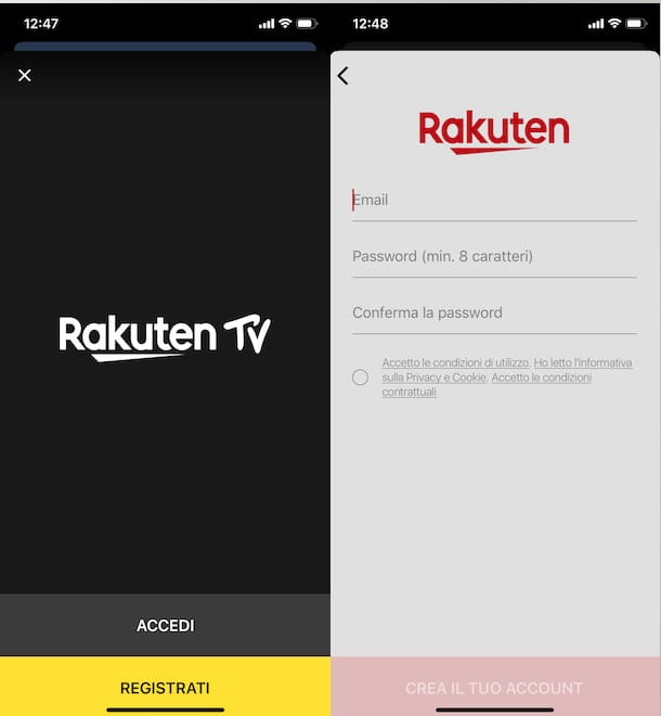Come funziona Rakuten TV su smartphone e tablet