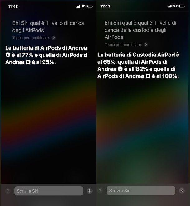Conoscere stato batteria AirPods tramite Siri
