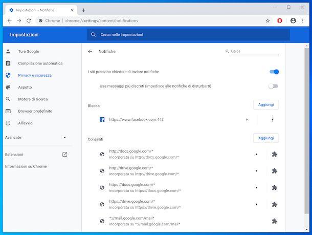 Blocco notifiche Chrome