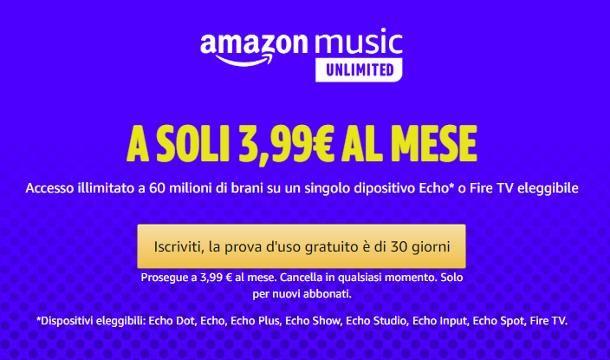 Come collegare Amazon Music ad Alexa