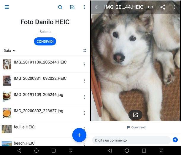 Usare Dropbox su Android per aprire file HEIC
