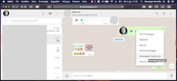 Contrassegnare messaggio importante WhatsApp PC