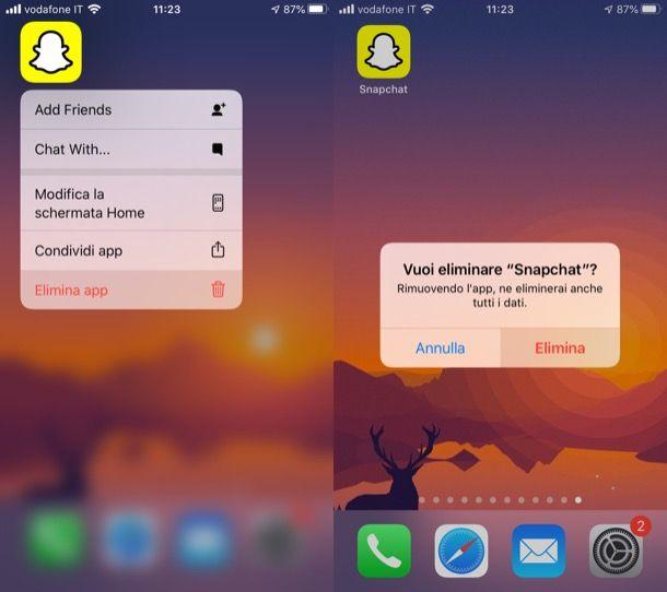 Disinstallare Snapchat su iPhone