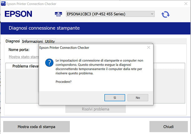 Controllo rete Wi-Fi con Epson Connection Checker